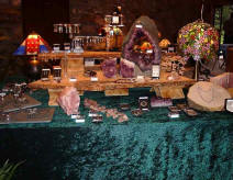 Amethyst geode and jewellery at a Cumbrian Exhibition